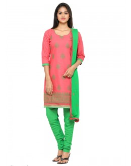 Peach Colour Chanderi Embroidery Salwar Suit - 19078