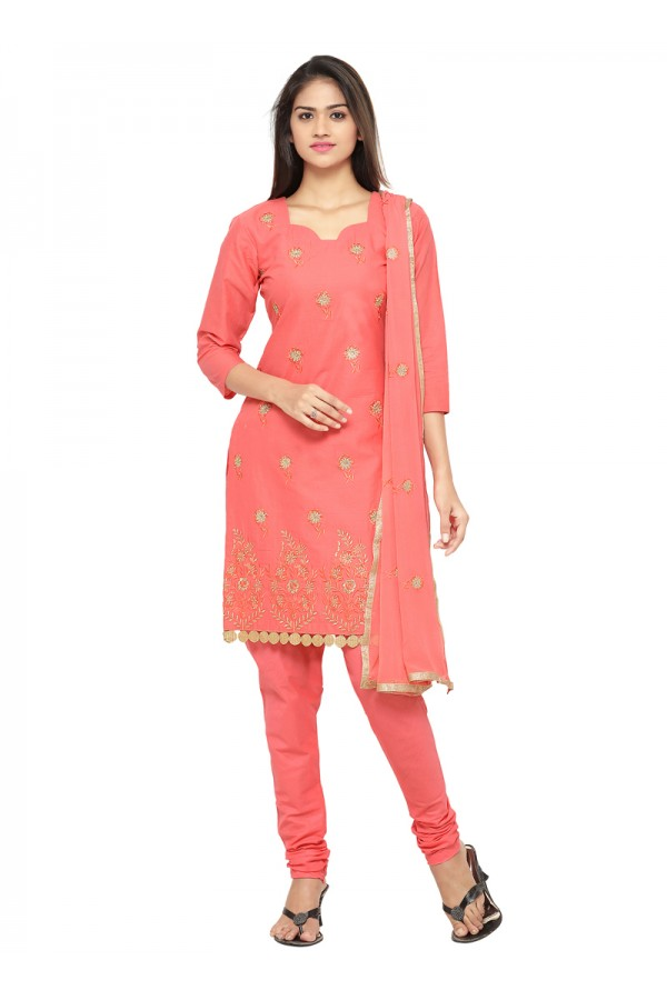Ethnic Wear Peach Glace Cotton Salwar Suit - 19090