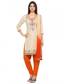 Party Wear Cream Glace Cotton Salwar Suit - 19093