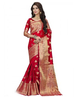 Ethnic Wear Red Silk Printed Saree  - 19198
