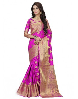 Pink Colour Designer Silk Printed Saree  - 19199