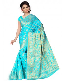 Ethnic Wear Sky Blue Silk Saree  - 19203