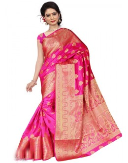Traditional Pink Silk Printed Saree  - 19206