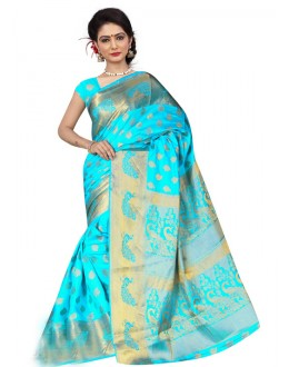 Designer Sky Blue Silk Printed Saree  - 19207