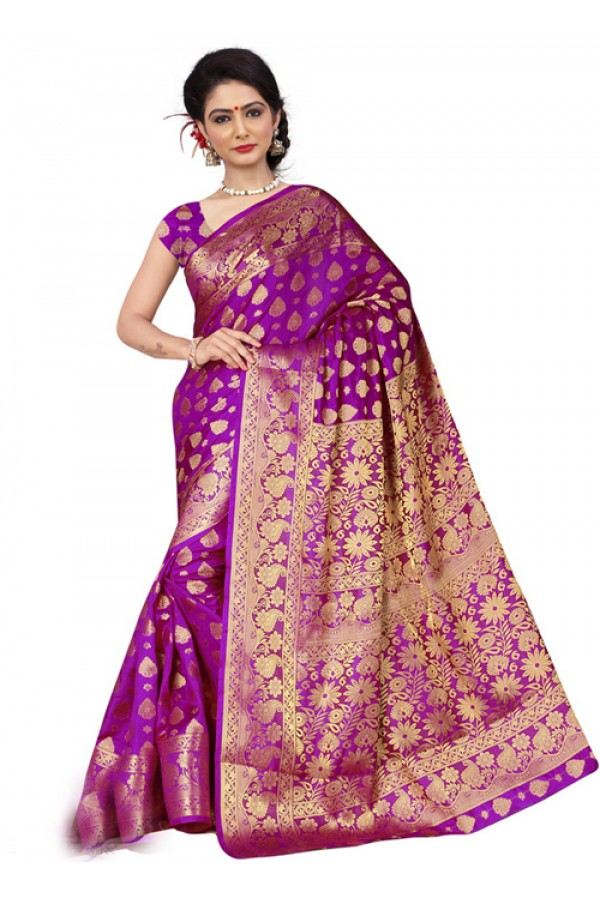 Designer Purple Silk Printed Saree  - 19208