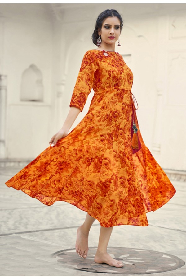 Party Wear Readymade Orange Cotton Kurti - 19218