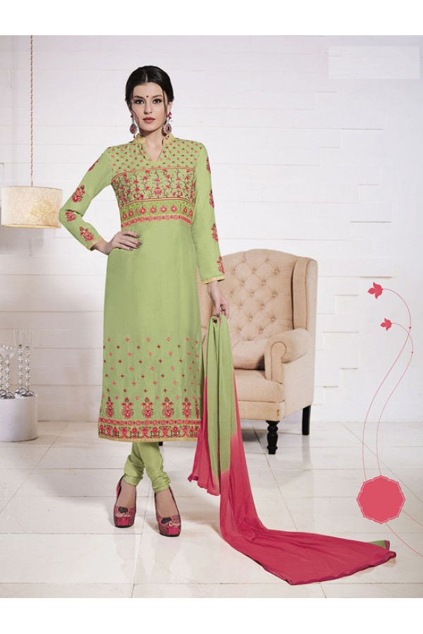 Ethnic Wear Green Glace Cotton Salwar Suit  - 19279