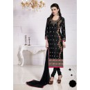 Party Wear Black Glace Cotton Salwar Suit  - 19281