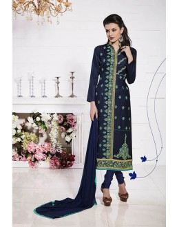 Festival Wear Navy Blue Glace Cotton Salwar Suit  - 19283
