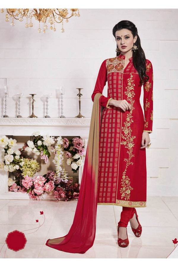 Party Wear Red Glace Cotton Salwar Suit  - 19284