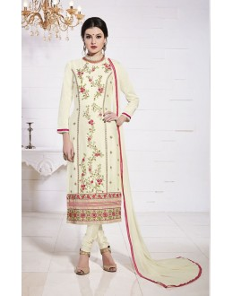 Ethnic Wear Cream Glace Cotton Salwar Suit  - 19285