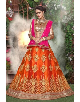 Designer Orange Net Lehenga Choli - 19290
