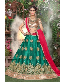 Festival Wear Green Net Lehenga Choli - 19291