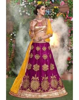 Festival Wear Purple Net Lehenga Choli - 19294