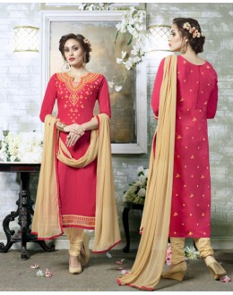 Ethnic Wear Peach Cotton Salwar Suit - 19311