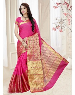 Festival Wear Peach Silk Printed Saree  - 19315