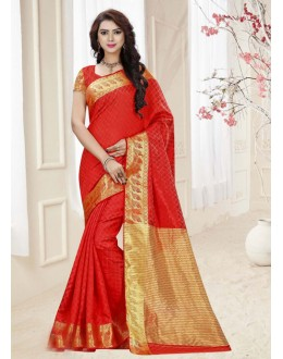 Ethnic Wear Red Silk Printed Saree  - 19318