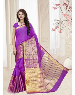 Party Wear Violet Silk Printed Saree  - 19324
