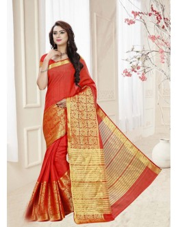 Silk Red Colour Printed Saree  - 19325
