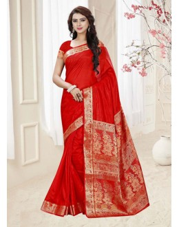 Designer Red Silk Printed Saree  - 19328