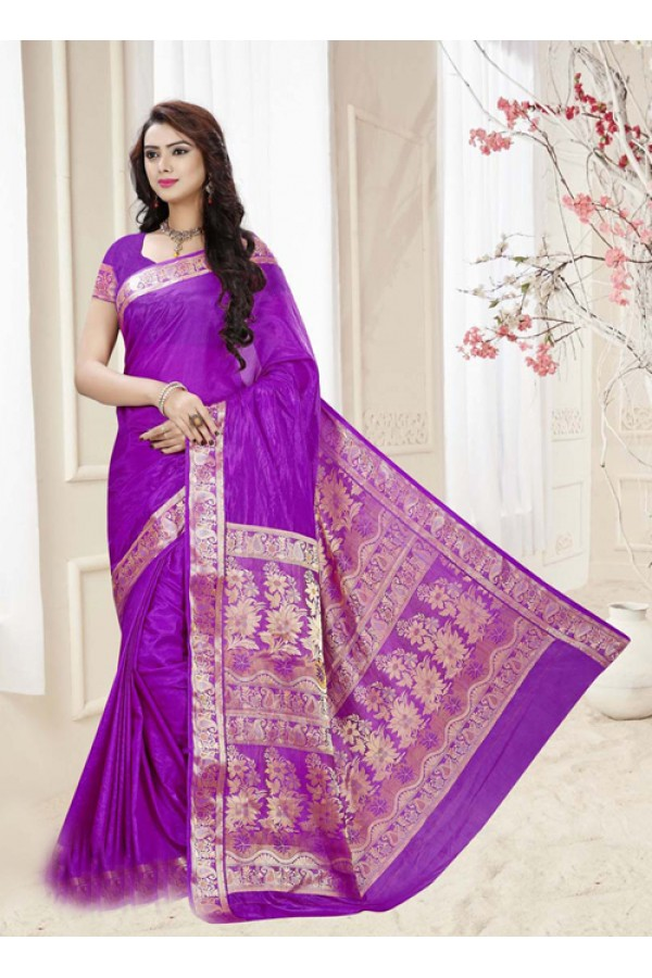 Party Wear Violet Silk Printed Saree  - 19329