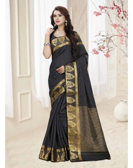 Party Wear Black Silk Printed Saree  - 19334