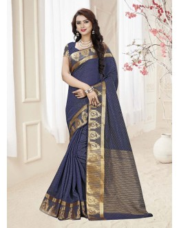 Festival Wear Navy Blue Silk Printed Saree  - 19337
