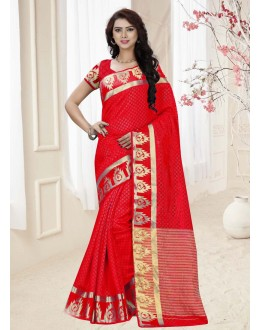 Ethnic Wear Red Silk Printed Saree  - 19339