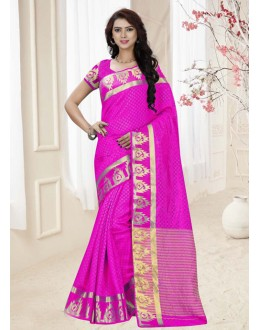 Ethnic Wear Pink Silk Printed Saree  - 19340