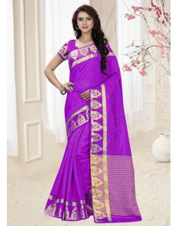 Party Wear Violet Silk Printed Saree  - 19341