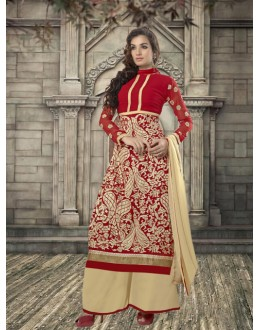 Ethnic Wear Red Georgette Palazzo Suit - 19342