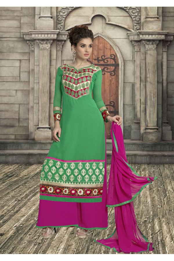 Ethnic Wear Green Georgette Palazzo Suit - 19346