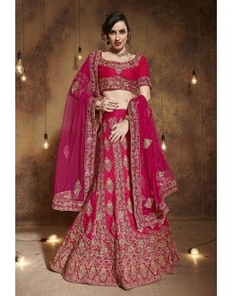 Wedding Wear Gajri Tourky Silk Lehenga Choli - 19500