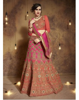Bridal Wear Multi-Colour Tourky Silk Lehenga Choli - 19501