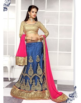Festival Wear Blue Viscose Lehenga Choli - 19502