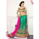 Wedding Wear Green Viscose Lehenga Choli - 19503
