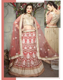 Wedding Wear Peach Net Lehenga Choli - 19514