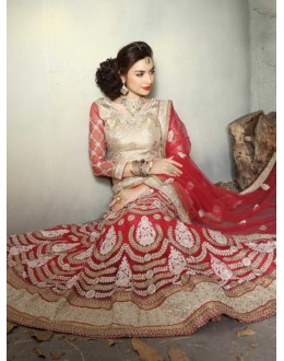 Wedding Wear Red Net Lehenga Choli - 19515
