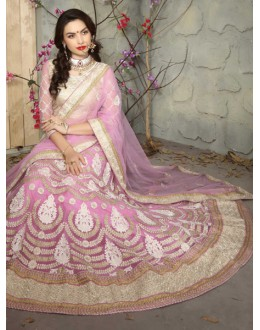 Baby Pink Colour Net Embroidery Lehenga Choli - 19516