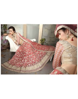Festival Wear Coral Peach Net Lehenga Choli - 19520