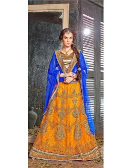 Bridal Wear Yellow Jacquard Lehenga Choli - 19524
