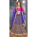 Bridal Wear Blue Jacquard Lehenga Choli - 19525