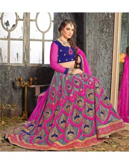 Traditional Multi-Colour Jacquard Lehenga Choli - 19526