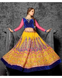 Yellow Colour Designer Jacquard Lehenga Choli - 19527