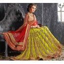 Wedding Wear Green Jacquard Lehenga Choli - 19528
