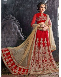 Wedding Wear Red Jacquard Lehenga Choli - 19529
