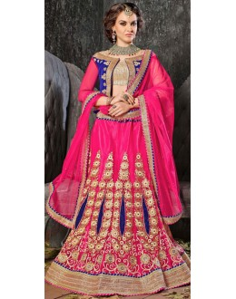 Wedding Wear Pink Jacquard Lehenga Choli - 19531