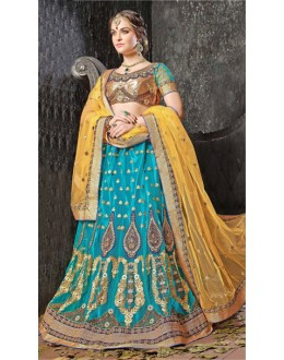 Blue Colour Designer Jacquard Lehenga Choli - 19532