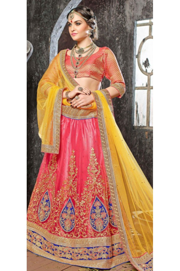 Wedding Wear Peach Jacquard Lehenga Choli - 19533