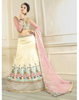 Festival Wear Off White Silk Lehenga Choli - 19537